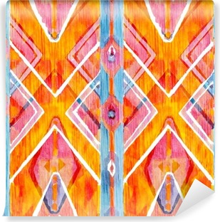 Ikat geometric red and orange authentic pattern in watercolour style. Watercolor seamless . Vinyl Wall Mural