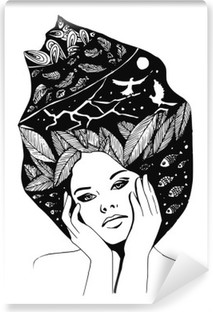 illustration, graphic black-and-white portrait of woman Vinyl Wall Mural