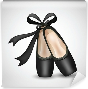 Illustration of realistic black ballet pointes shoes Vinyl Wall Mural