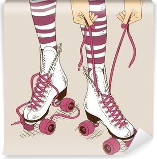 Illustration with female legs in retro roller skates Vinyl Wall Mural