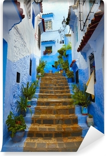 Inside of moroccan blue town Chefchaouen medina Vinyl Wall Mural
