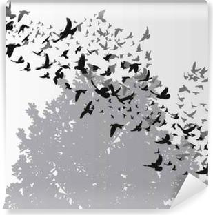 isolated, silhouette flying birds Vinyl Wall Mural