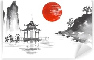 Japan Traditional japanese painting Sumi-e art Sun Lake River Hill Temple Mountain Vinyl Wall Mural