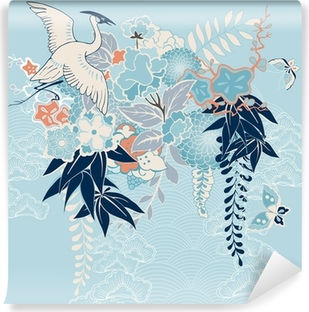 Japanese kimono motif with crane and flowers Vinyl Wall Mural