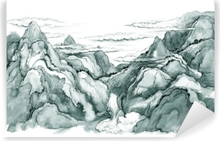 Japanese mountains Vinyl Wall Mural