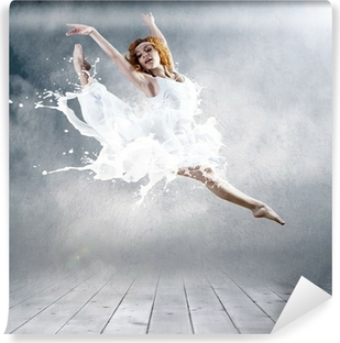 Jump of ballerina with dress of milk Vinyl Wall Mural