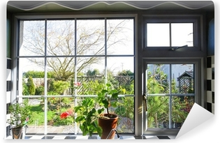 Kitchen window with the view on garden Vinyl Wall Mural