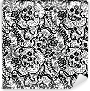 Lace black seamless pattern with flowers on white background Vinyl Wall Mural