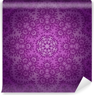 Lace circle oriental ornament, ornamental doily pattern on viole Vinyl Wall Mural