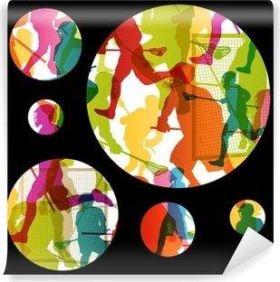 Lacrosse players active men sports silhouettes abstract backgrou Vinyl Wall Mural