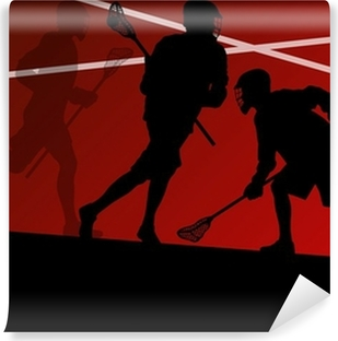 Lacrosse players active sports silhouettes background illustrati Vinyl Wall Mural