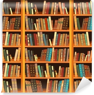 Large bookcase with different books Vinyl Wall Mural