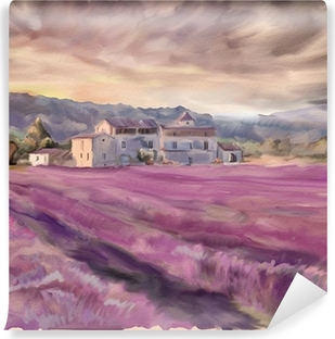 Lavender field in Provence. Watercolor painting Vinyl Wall Mural