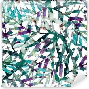 leaves abstract pattern background wallpaper watercolor Vinyl Wall Mural