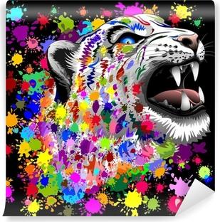 Leopard Psychedelic Paint Splats Vinyl Wall Mural