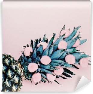 Life in pink. Pineapple background. minimal style Vinyl Wall Mural