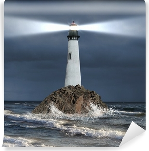 Lighthouse with a beam of light Vinyl Wall Mural