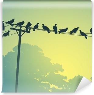 Lots of Birds on Telephone Lines Vinyl Wall Mural