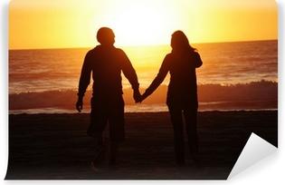 loving couple beach sunset Vinyl Wall Mural