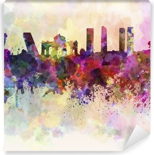 Madrid skyline in watercolor background Vinyl Wall Mural