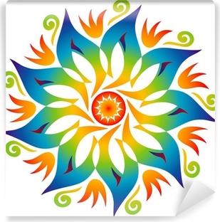 Mandala Energie Couleurs Arc en Ciel Vinyl Wall Mural