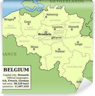 Map of Belgium Vinyl Wall Mural