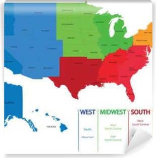 map of us regions maps usa vinyl wall mural