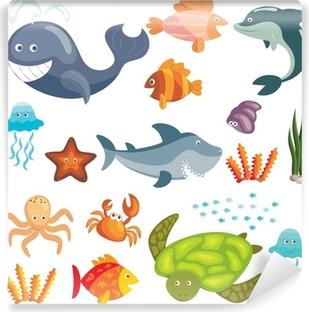 Marine animals set Vinyl Wall Mural