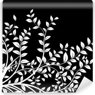 Masque Noir Et Blanc Floral Decor Décoration Avec Arbre Sticker