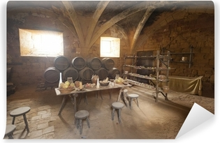 Medieval kitchen and dining area in old castle in France Vinyl Wall Mural