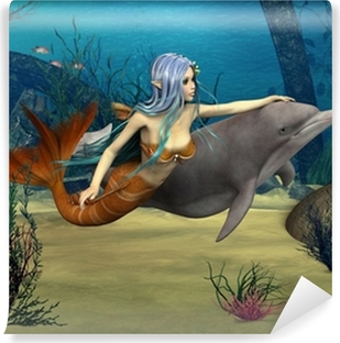 Mermaid and Dolphin Vinyl Wall Mural