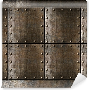 metal armour background with rivets Vinyl Wall Mural
