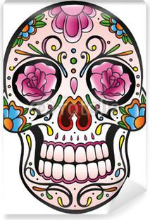 Mexican Sugar Skull, Totenkopf, bunt, vector Vinyl Wall Mural