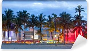 Miami Beach, Florida hotels and restaurants at sunset Vinyl Wall Mural