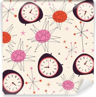 Mid Century Clock Pattern. Retro vintage fifties styled vector pattern. Time concept. Vinyl Wall Mural