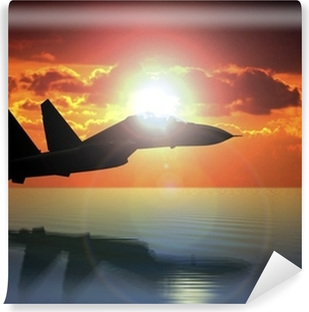 Military Aircraft Flying on Bright Sun Vinyl Wall Mural