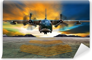 military plane landing on airforce runways against beautiful dus Vinyl Wall Mural