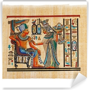 Antique egyptian papyrus and hieroglyph Wall Mural Pixers We