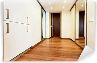 Modern Minimalism Style Corridor Interior With Sliding Door Mirr Vinyl Wall  Mural