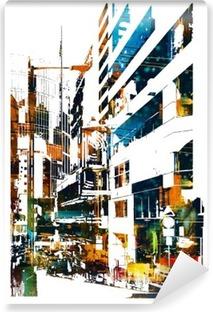 modern urban city,illustration painting Vinyl Wall Mural