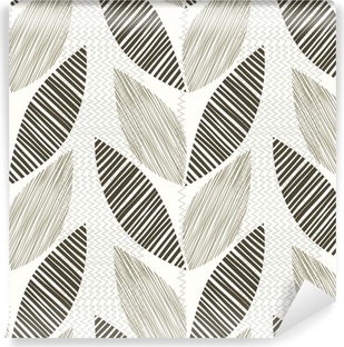 Monochrome seamless pattern of abstract leaves. Vinyl Wall Mural