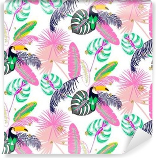 Monstera tropic pink plant leaves and toucan bird seamless pattern. Exotic nature pattern for fabric, wallpaper or apparel. Vinyl Wall Mural