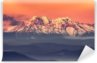 Morning panorama of the snowyTatra Mountains Vinyl Wall Mural