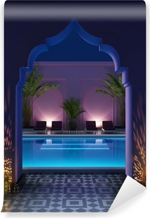 Moroccan riad courtyard with a swimming pool Vinyl Wall Mural