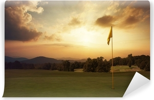 Mountain sunrise at the golf course Vinyl Wall Mural