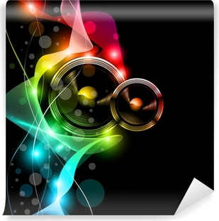 Music Disco Flyer With Raibow Colours Vinyl Wall Mural