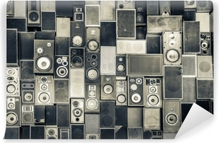 Music speakers on the wall in monochrome vintage style Vinyl Wall Mural