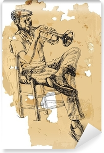 Musician, trumpeter. Hand drawing into vector Vinyl Wall Mural