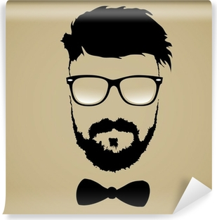 mustache beard glasses hairstyle Vinyl Wall Mural