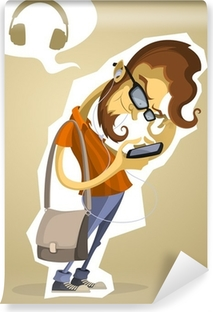 Nerd hipster with the phone and headphones Vinyl Wall Mural